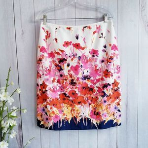 Tahari Arthur Levine White Floral Pencil Skirt Sz8